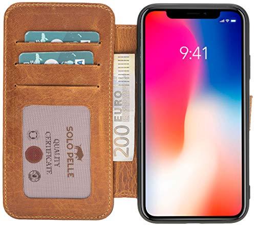 Solo Pelle kompatibel für das iPhone XR Hülle Case Lederhülle Ledertasche Wallet Tasche in Camel Braun Walletbook Case