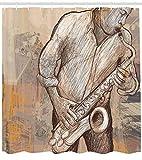 Abakuhaus Duschvorhang, Jazz Musik Spielender Alter Mann Saxofone Straßen Musik Gemalt Kunst Digital Druck Bild, Blickdicht aus Stoff inkl. 12 Ringen Umweltfreundlich Waschbar, 175 X 200 cm