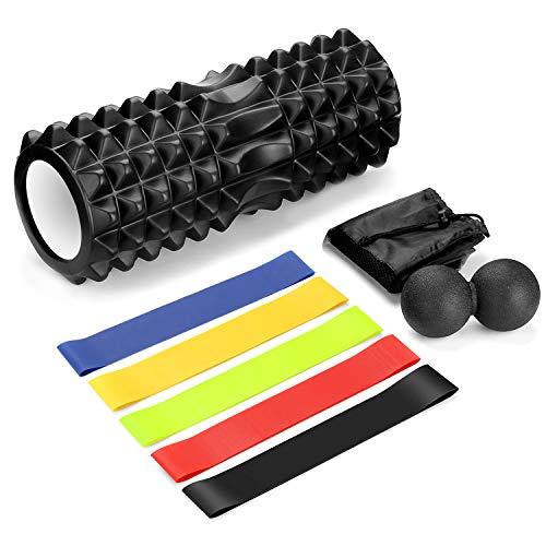 Odoland 8-in-1 kit di gomma piuma con palle di massaggio e fasce elastiche di resistenza - rullo di schiuma lunghezza 33 cm diametro 14 cm per la terapia muscolare e l'sercizio di equilibrio