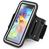 RE:CRON® Sport-Armband Handycover für Samsung Galaxy S3 S4 S5 - Neopren - Schwarz mit Schlüsselfach
