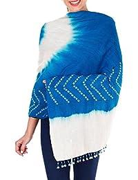 Turquoise Bleu Crème Châle Wrap Cadeaux Femmes indienne laine main Tie-dye For Her 36x80 pouces