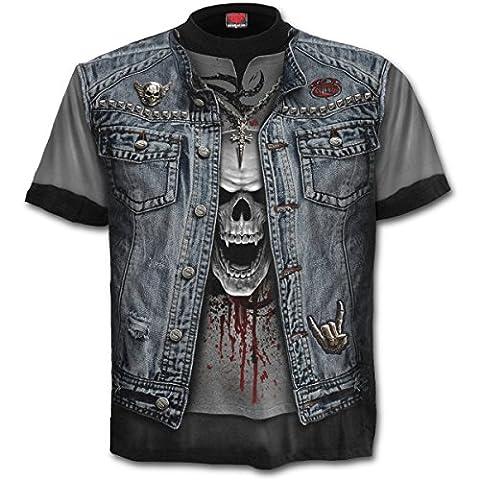 Spiral THRASH METAL Allover Printed T-Shirt Schwarz, Fels, Biker, Metall, PLUS SIZE (XXXX-Large)