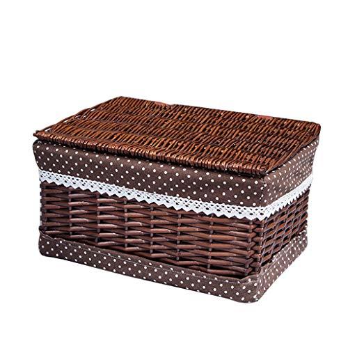 Wicker Ablagekorb (Minmin Rattan große überdachte Ablagekorb - Hamper - Aufbewahrungsbox - Ablagekorb Debris - Wicker Aufbewahrungsbox braun (größe : D))