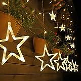 Salcar Finestra Luci Sipario di Natale Telecomando del 138 LEDs, 2 * 1m Catena Luminosa 12 stelle (φ10/20cm), Interfaccia USB per Interni ed Esterni Catena Luminosa con stelle a LED - Bianco Caldo