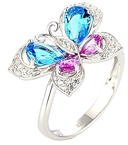SaySure - Silver Rings Butterfly for Women Gem Stone Pink (SIZE : 6)