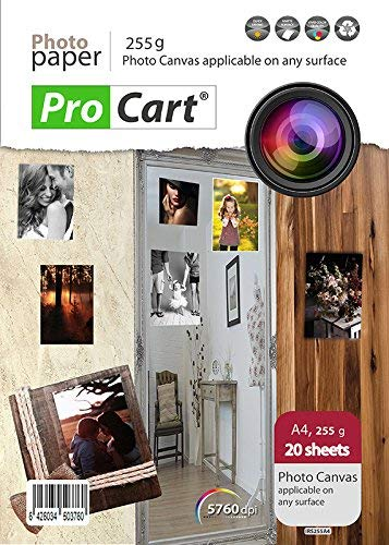 Photo Fabric Paper A4 with Repositionable Adhesive for inkjet printers, applicable on any surface, weight 255 g, Printable removale stick ups, 20 sheets