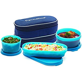 Signoraware Double Decker Lunch Box with Bag, Blue