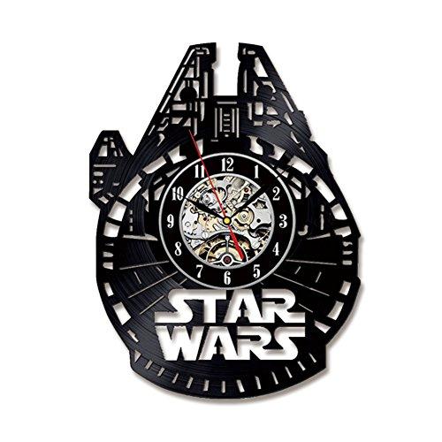 YXT Star Wars Falcon Modell Uhr Handgefertigte Wanduhr Hohl Kreative Retro Wanduhr Wall Clock