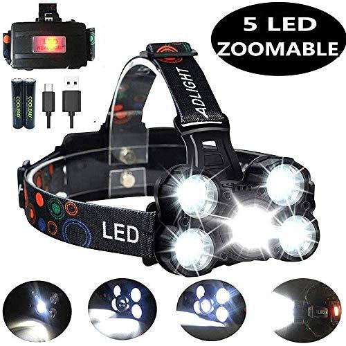 Coolead torcia frontale zoomable 4 modalità 5 led ricaricabile regolabile impermeabile lampada frontale per escursioni, campeggio,ciclismo,corsa, speleologia, pesca.