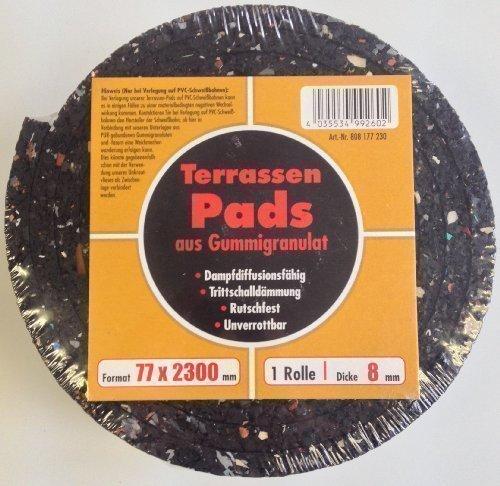 2300x77x8 mm Terrassen-Gummi-Pads / Unterlage für Unterkonstruktion / 1 Rolle