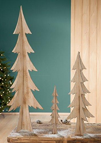 Tannenbaum Holz Natur mit Glitter 60 cm (G21432) Baum Weihnachtsdeko