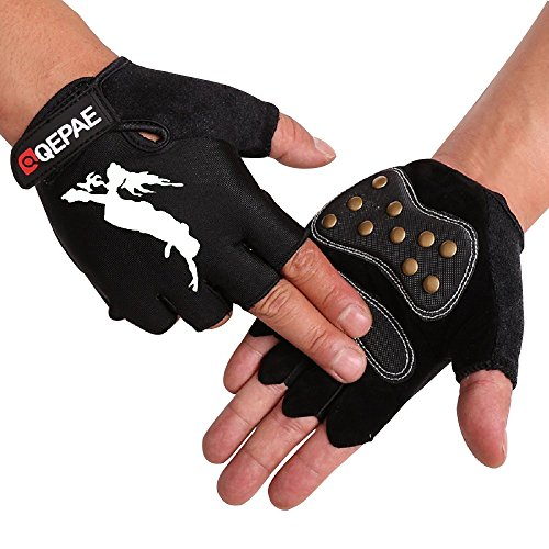 Tofern Unisex Handschuhe halbfinger Lycra fluoreszierend Muster für Skateboard Skate, Weiß XL (Handflächebreite 9-10cm)