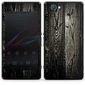 Sony Xperia Z1 Compact Aufkleber Schutz Folie Design Sticker Skin Ebenholz Look Holz Schwarz Holzwand