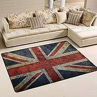 Mnsruu Vintage Union Jack British Flag London Area Rug Rugs for Living Room Bedroom 91cm x 61cm(3 x 2 feet)