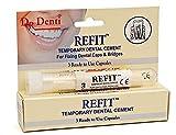 3 PACKUNGEN Dr Denti Refit Provisorischer Zahnzement 3 Kapseln, verwendungsbereit