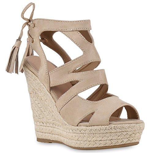 Damen Sandaletten Sandalen Keilabsatz Leder-Optik Plateau Sommer Wedges Fransen Schleifen Party Hochzeit Braut Schuhe 131135 Creme 35 Flandell