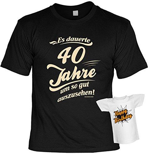 Cooles Geburtstagsgeschenk Leiberl für Männer T-Shirt Set mit Mini T-Shirt Es dauerte 40 Jahre um so gut auszusehen! Leibal zum Geburtstag Schwarz