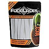 FLEXILACES - Flache elastische Schnürsenkel | Spannung einstellbar | viele Farben | nie Wieder Schuhbänder binden | passend für alle Schuhe - Weiß