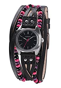 Kahuna Women's Quartz Watch with Black Dial Analogue Display and Black Leather Strap KLS-0201L