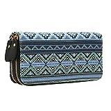 Geldtasche Damen Geldbörse Reißverschluss-Brieftaschen groß Kapazität Canvas Geldbeutel Tasche Damen Portemonnaie - Mescara (Boho-1)