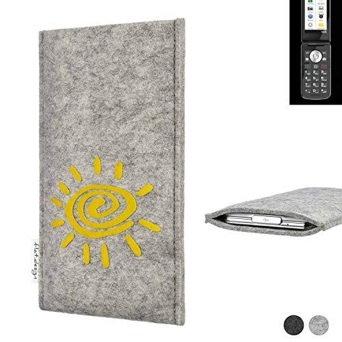 flat.design Handy Hülle für Emporia TOUCHsmart FARO mit Sonne Filz Schutz Tasche Etui Made in Germany fair