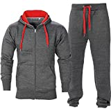 BE JEALOUS Herren Essentials Contrast Trainingsanzug Fleece Kapuzenpullis Jogginghose Jogginghose Gym Set - Dunkelgrau/Rot, XL