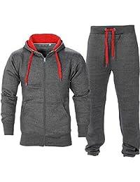 BE JEALOUS Herren Essentials Contrast Trainingsanzug Fleece Kapuzenpullis Jogginghose Jogginghose Gym Satz