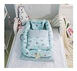 Abnehmbar Baby Bett Babynest Kuschelnest Babybett Babynestchen Reisebett Stillkissen Matratze mit Quilt (Grün Sterne)