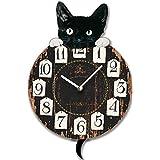 RELOJ DE PARED CON PENDULO DISENO LUCKY CAT GATO NEGRO - Tinas Collection