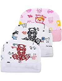 Mini Berry Baby Cotton Cap for Newborn Infant Baby 0-12 Months (White Printed)