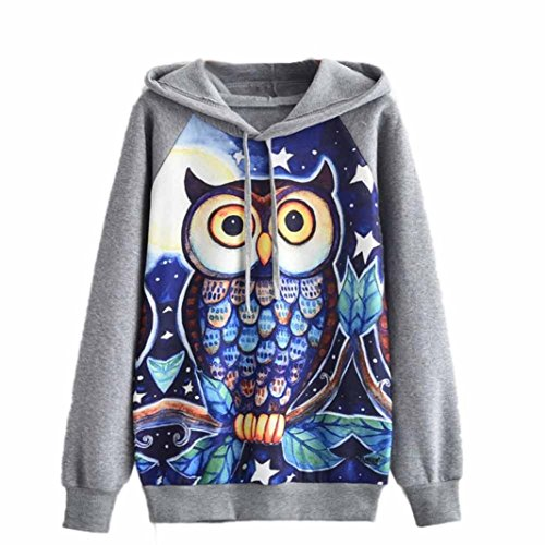 Amlaiworld Damen mit Aufdruck Eule Nacht Langarmshirts Komfortabel Locker Sweatshirt Warm Winter Herbst Kapuzenpullover Halloween Kostüm (XL, Grau) (Bier-halloween-kostüme)
