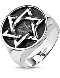 BlackAmazement unisex anillo de acero inoxidable de estrella de David motorista gótico plata Hexa gramos macizo medallón sello