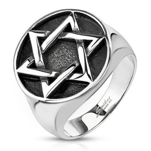 Anello in acciaio inox a forma di stella BlackAmazement ltext Biker gotico argento massiccio David Hexa g di medaglione sigillo, Acciaio inossidabile, 20