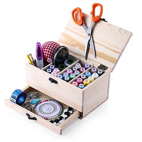 Muzee Boîte à Couture en Bois Vintage avec kit de Couture Accessoires Retrospective Woody Sewing Basket/Organizer