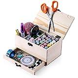 Caja de costura de cosecha de madera con el kit de costura Accesorios-Muzee Retrospectiva Woody costura cesta / organizador