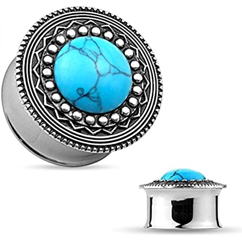 Plug–in speciale acciaio–Double Flared–Turquoise Stone Center Tribal
