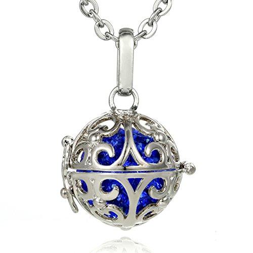 Morella® Damen Halskette Edelstahl 70 cm mit Ornament Anhänger und Klangkugel Zirkonia blau Ø 16 mm in Schmuckbeutel