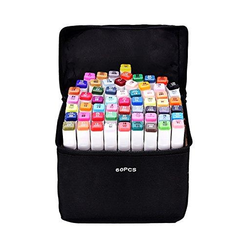 Yosoo Marker Stift Set Doppelspitze Textmarker in verschiedenen Farben für Zeichnen und Malen (Anime, 60 Farben)