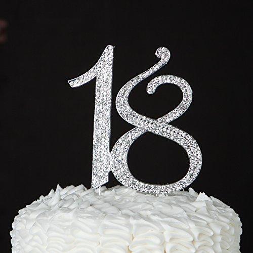 18Tortenaufsatz, für 18. Geburtstag Nummer Party Supplies & Dekoration Ideen silber