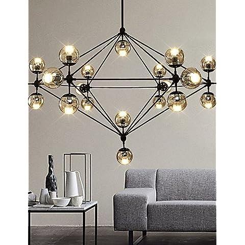 Jiaily Illuminazione Dimmerabile moderno modo lampadario 21 luci montato Semi-Flush verniciatura nera in vetro ambrato per Soggiorno Soppalco luce , 220-240V