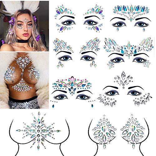 E-More Gesicht Edelsteine 8 Stück Gesicht Schmucksteine Juwelen Sticker,Aufkleber Gesicht,Schmucksteine Selbstklebend Gesicht,Bindi Adhesive Strass Glitzer Gesicht Tattoo