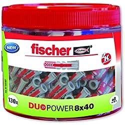 Fischer 553307 Duopower Boîte de 130 chevilles 8 x 40 cm