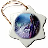 3dRose orn_21949_1 Hiking in Nepal Porcelain Snowflake Ornament, 3-Inch