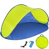 TecTake Tenda popup da spiaggia protezione UV sole automatica 220x120x100cm - disponibile in diversi colori - (Blu giallo | no. 401680)