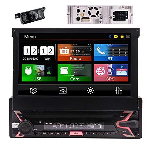 EINCAR Einzel Din Flip Out-Schirm-Auto-Radio Wince 8.0 Car Stereo 1 Din 7 '' kapazitiver Touchscreen Autoradio Bluetooth Head Unit mit GPS-Navigation Unterstützung USB SD-Video-Player-Unterstützungs (Flip-autoradio)