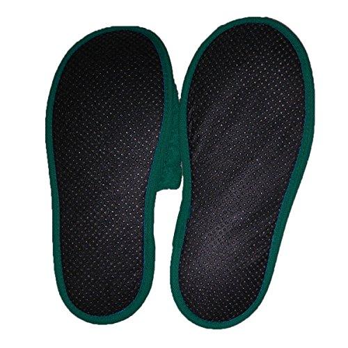 Pantofole in Spugna per il Bagno Uomo/Donna, 100 % cotone Verde scuro