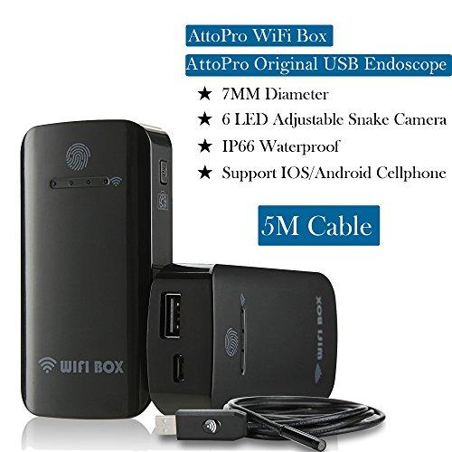 Endoskop WiFi Box für USB-Endoskop Android Endoskop Endoskop Rohr Kamera Schlange Inspektionskamera für iOS Android für iPhone, iPad Pro, Samsung mit integriertem Akku & Shutter von attopro, WiFi Box with 5M Endoscope, 1 Pumpe-treiber