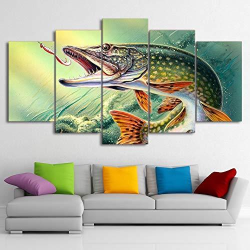 mbxztm 5 -teilige Leinwand Malerei Tierfischerei Hecht Bass Fischlandschaft Bild Dekor Poster Druck Wand Kunst