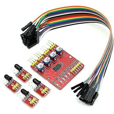Solu modulo sensore di rilevamento a raggi infrarossi a 4canali con 4a infrarossi sonda + 18Dupon linea//4canali a infrarossi rilevamento di fotoelettrico modulo sensore per Arduino//4canali Obstacle Avoidance infrarossi Tracked)