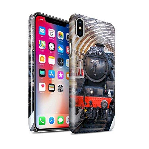STUFF4 Glanz Snap-On Hülle / Case für Apple iPhone X/10 / Dominion NZ/Blau Muster / Dampflokomotive Kollektion Fusilier/Bahnsteig